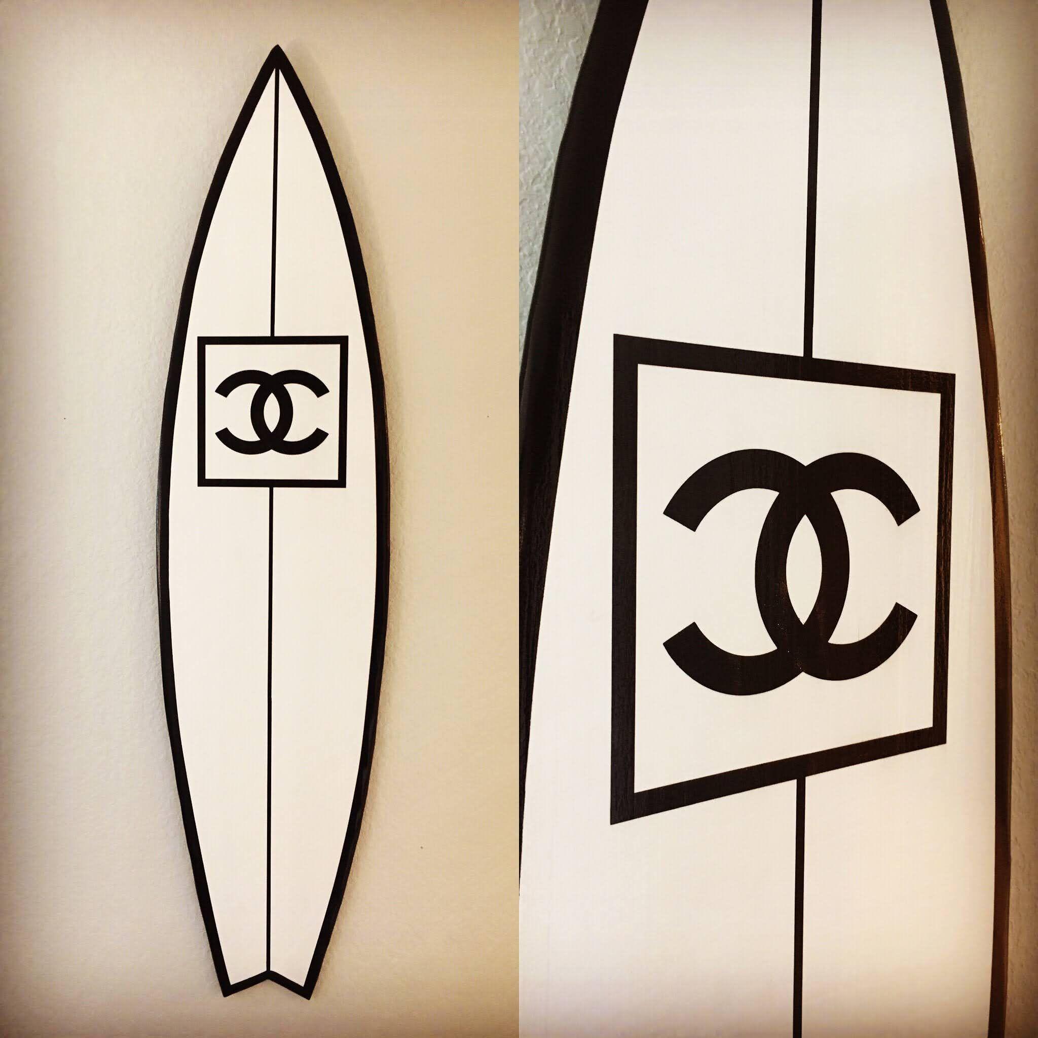 Custom Chanel Surf Art Surfboard Sign Surf Board Wall Art Etsy In 2020 Surfboard Wall Art Surfboard Surf Art