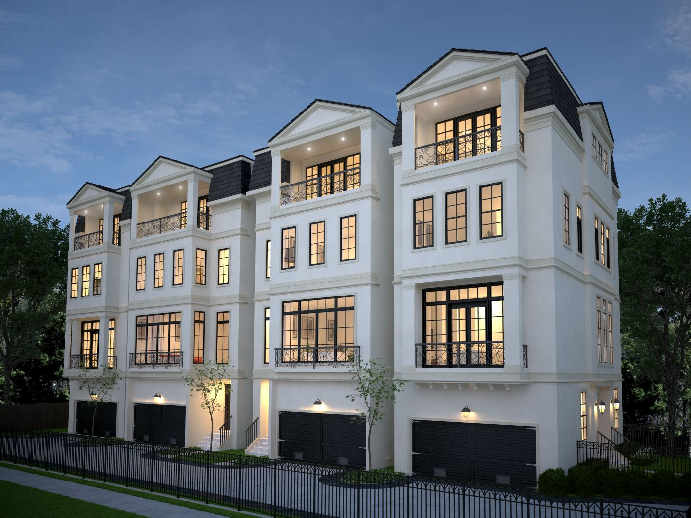 Four 4 story townhomes in houston by preston wood assoc Houston home design