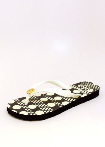 0fe9d269a1dd Tory Burch Flip Flop 9 White Tory Burch.  50.00. rubber. PVC Upper Lined  With Rubber Sole. Rubber Thong Straps. Signature Logo Medallion At Center.