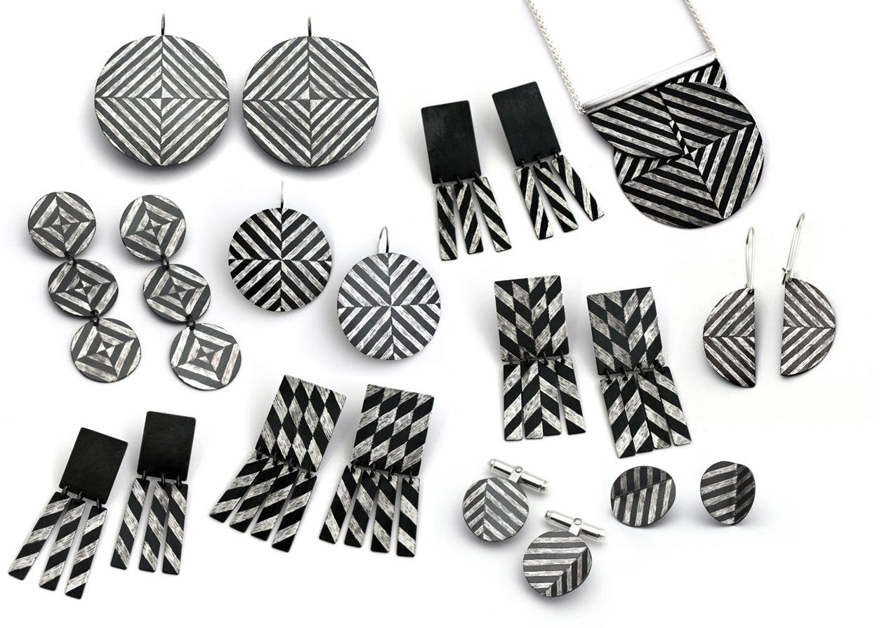 Peta Kruger, 'Dazzle Pattern', earrings and neckpieces