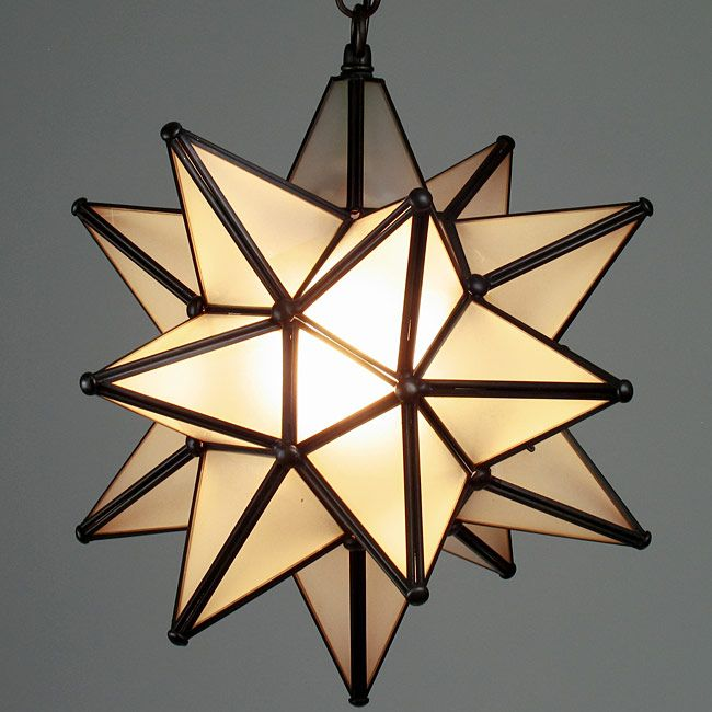 Small Aged Tin Frosted Gl Moravian Star Light 10 Inch