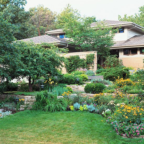 20 Sloped Backyard Design Ideas: Gardens, A Well And Hillside
