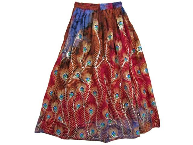 Long Sequin Skirts Red Peacock Feather Skirt $24.99