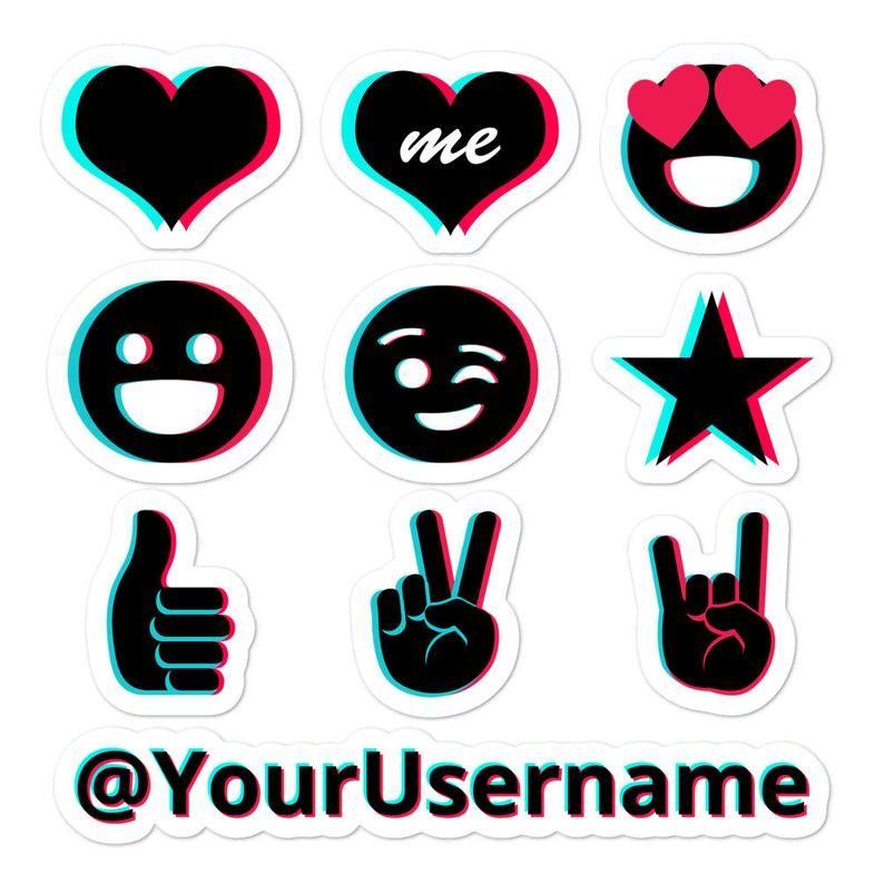 Personalized Tiktok Stickers Tik Tok Stickers 5 5 Inch X Etsy Emoji Stickers Etsy Sticker Set