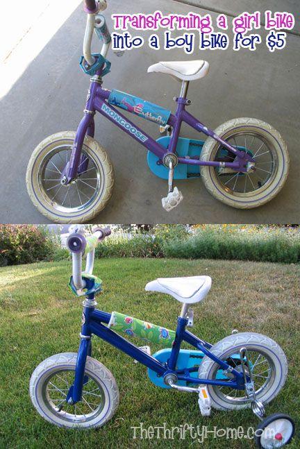 bike into a boy bike or a boy bike into a girl bike with spray paint. Black Bedroom Furniture Sets. Home Design Ideas