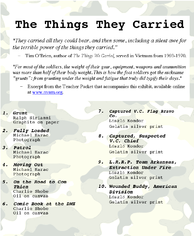 Essay About Healthy Food The Things They Carried From The National Veterans Art Museum In Chicago Computer Science Essay also Theme For English B Essay The Things They Carried From The National Veterans Art Museum In  Health Awareness Essay