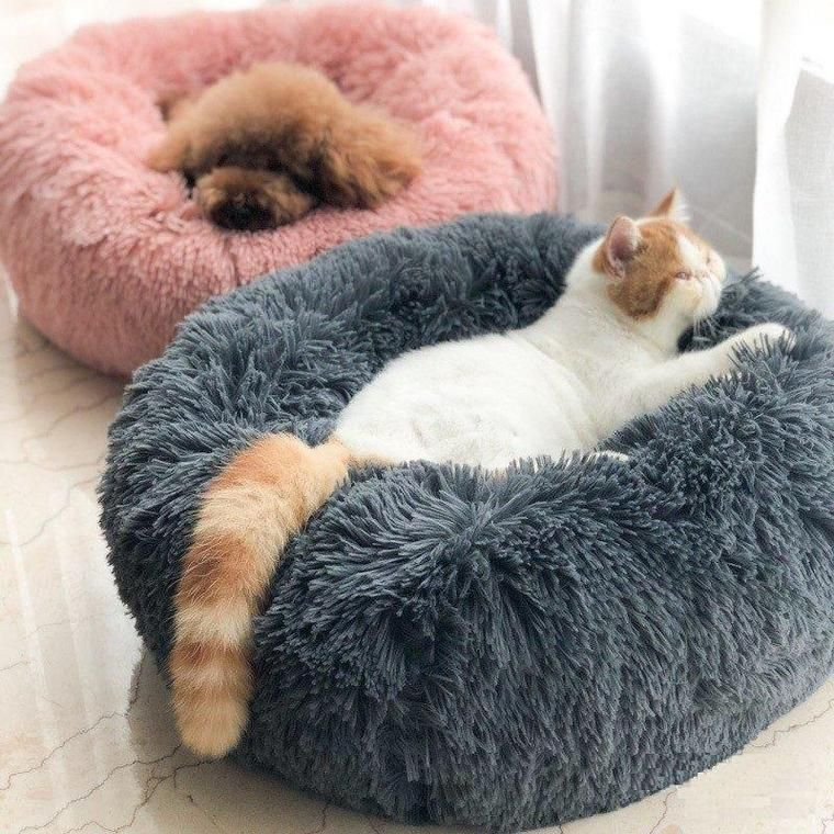 Long Plush Super Soft Pet Round Bed Kennel Dog Cat Comfortable Sleeping Cushion Plush Pet Bed Soft Dog Beds Dog Pet Beds