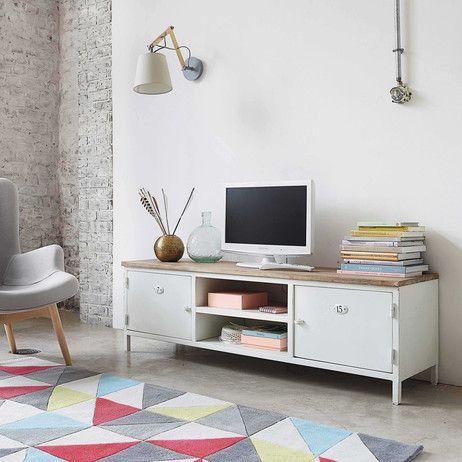 Meuble TV en métal et manguier blanc L 153 cm Copernic   Maisons du ...
