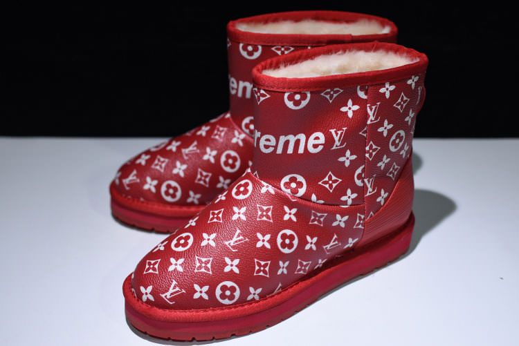 d61a81bc160 Limited Louis vuitton x Supreme x UGG boots red white logo,upper ...