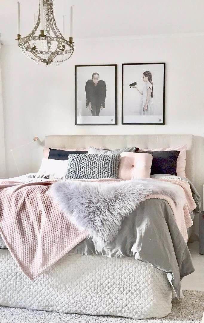 Gray and blush Beautiful bedroom design