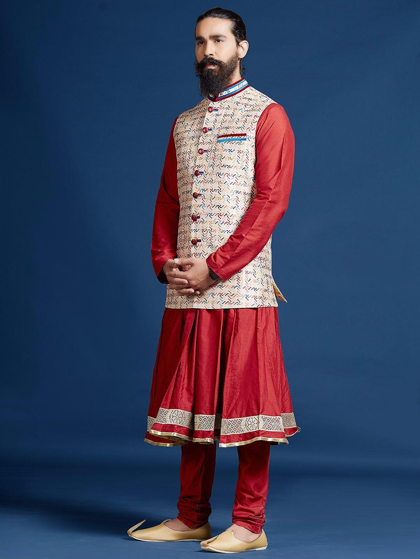Shop printed wedding wear beige silk waistcoat set online from