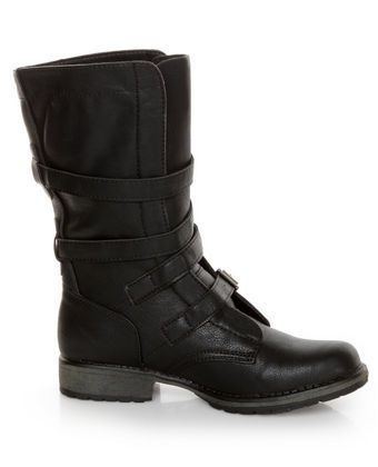 Madden Girl Raszcal Black Slouchy Belted Combat Boots
