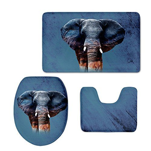 Charmant CHAQLIN Anti Slip Back Bathroom Mats Set Elephant Printing Bath Rug Contour  Pad Toilet Lid