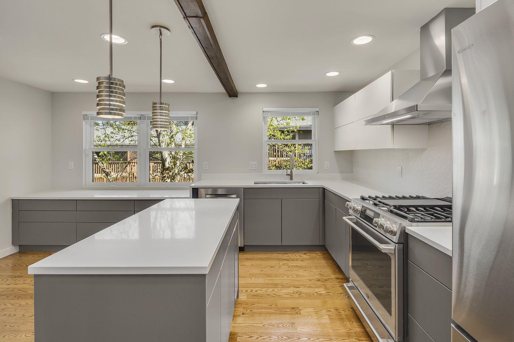 Modern Condo Kitchen White Teltos Quartz Counters Bellmont