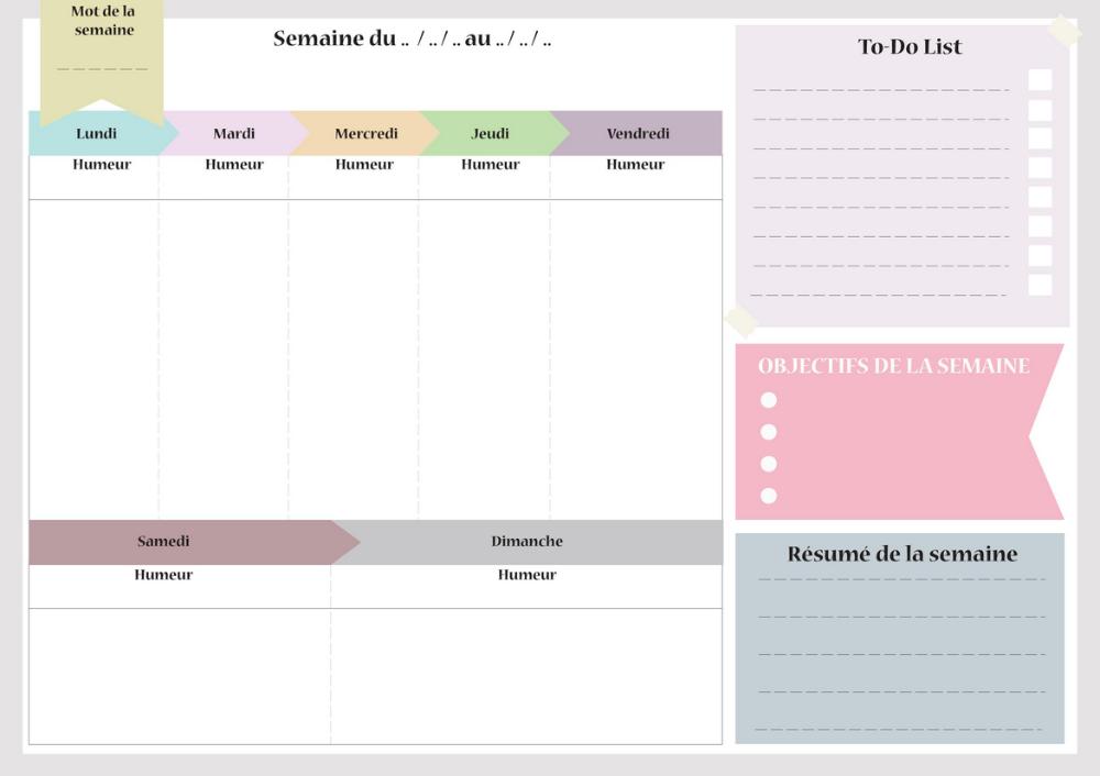 Imprimez Semainier Planning de semaine agenda