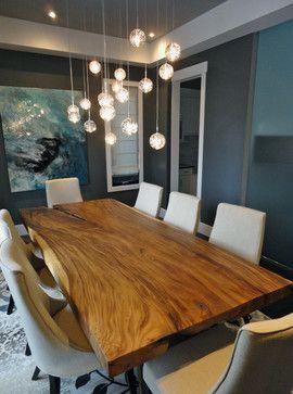 Love The Live Edge Table Elbow New Build Contemporary Dining Room Calgary Wharton Interiors