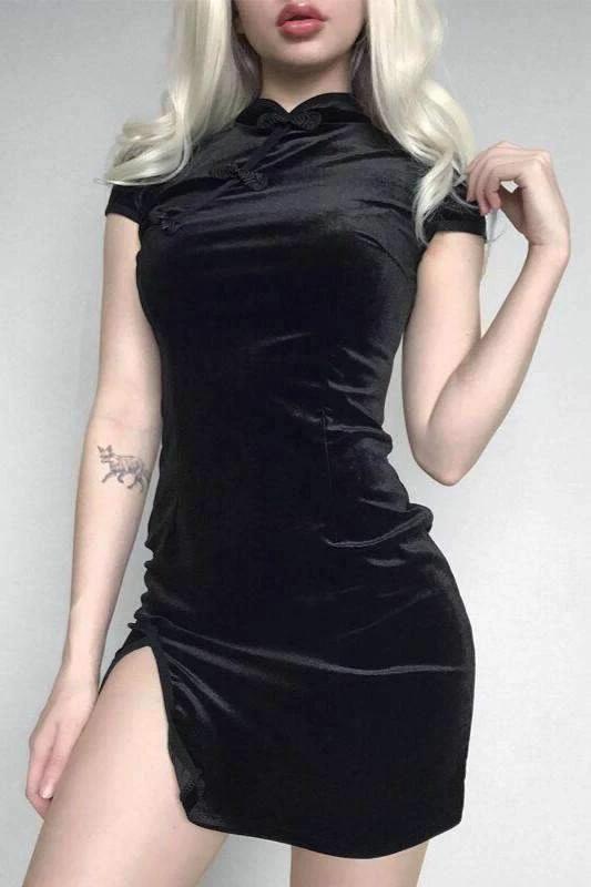 Velvet chinese cheongsam style solid color dress