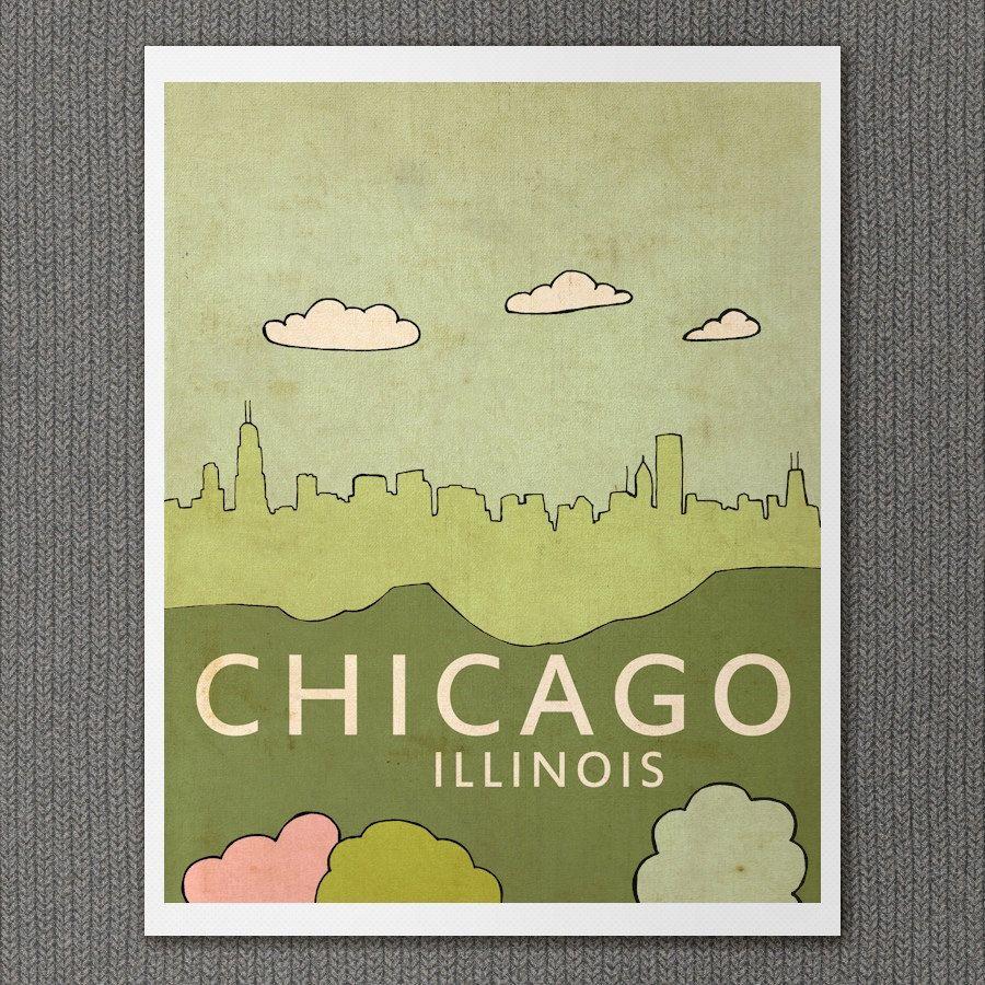 Chicago Illinois // Living Room Art, Kitchen Art, Nursery Art ...