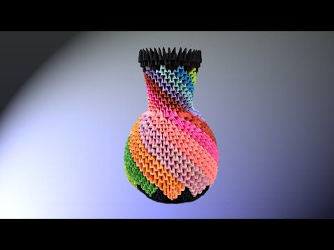 How To Make 3d Origami Vase 7 Youtube Origami Pinterest 3d