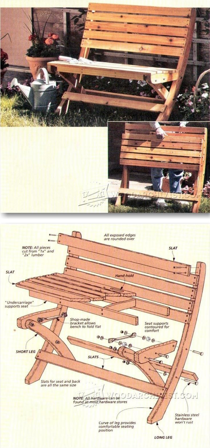 Portable Folding Bench Plans   Outdoor Furniture Plans And Projects |  WoodArchivist.com