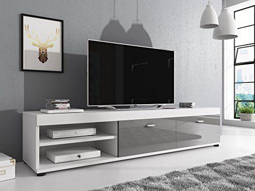 Meuble Tv Armoire Support Elsa Blanc Facades Brillant Gri Https Www Amazon Fr Dp B01m59rkui Ref Cm Sw Meuble Tv Mobilier De Salon Meuble Tv Noir
