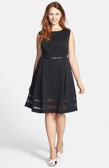 7886e66006 Calvin Klein Belted Ponte Fit   Flare Dress (Plus Size) available at   Nordstrom