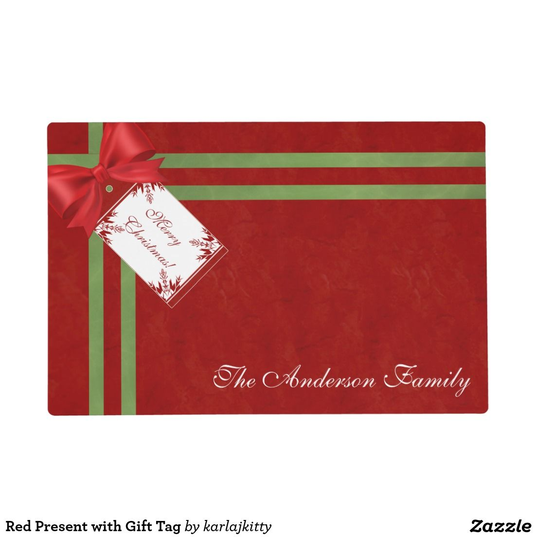 Red Present with Gift Tag Placemat