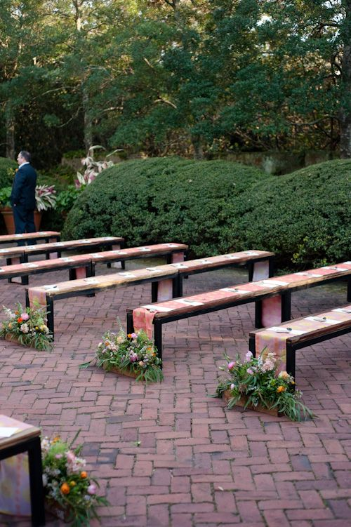 Beautiful Benches For Wedding Ceremony In Scarbrough Garden Wedding Bench Wedding Ceremony Decorations Rustic Wedding Seating