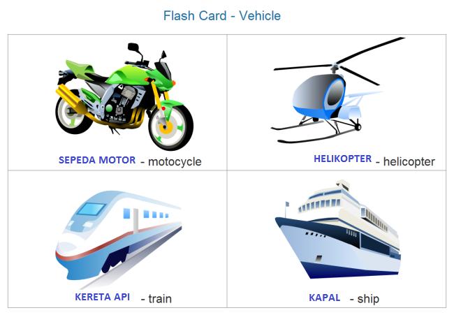 Flash Card Yang Ada Disini Gratis Untuk Pembelajaran Si Kecil Kendaraan Kartu Flash Pendidikan
