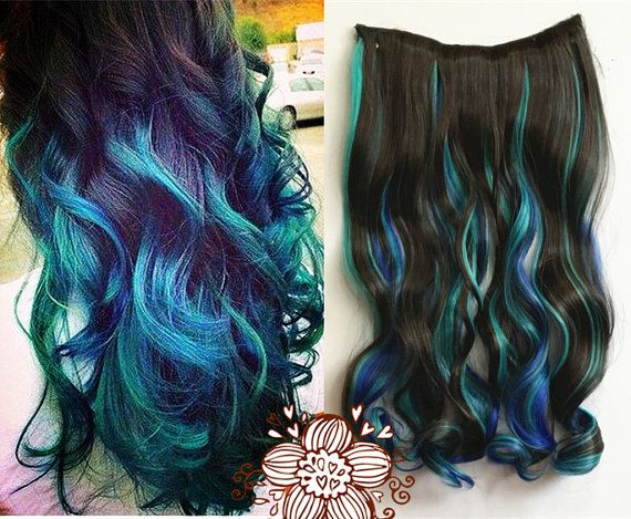 Dark Brown Mixed With Green And Royal Blue Three By Ufashionwigs Highlighted Hair Extensions Ombre Hair Extensions Curly Hair Styles