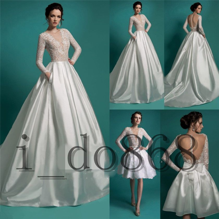 Satin Wedding Dress Detachable Skirt Bridal Ball Gown Two piece Long ...