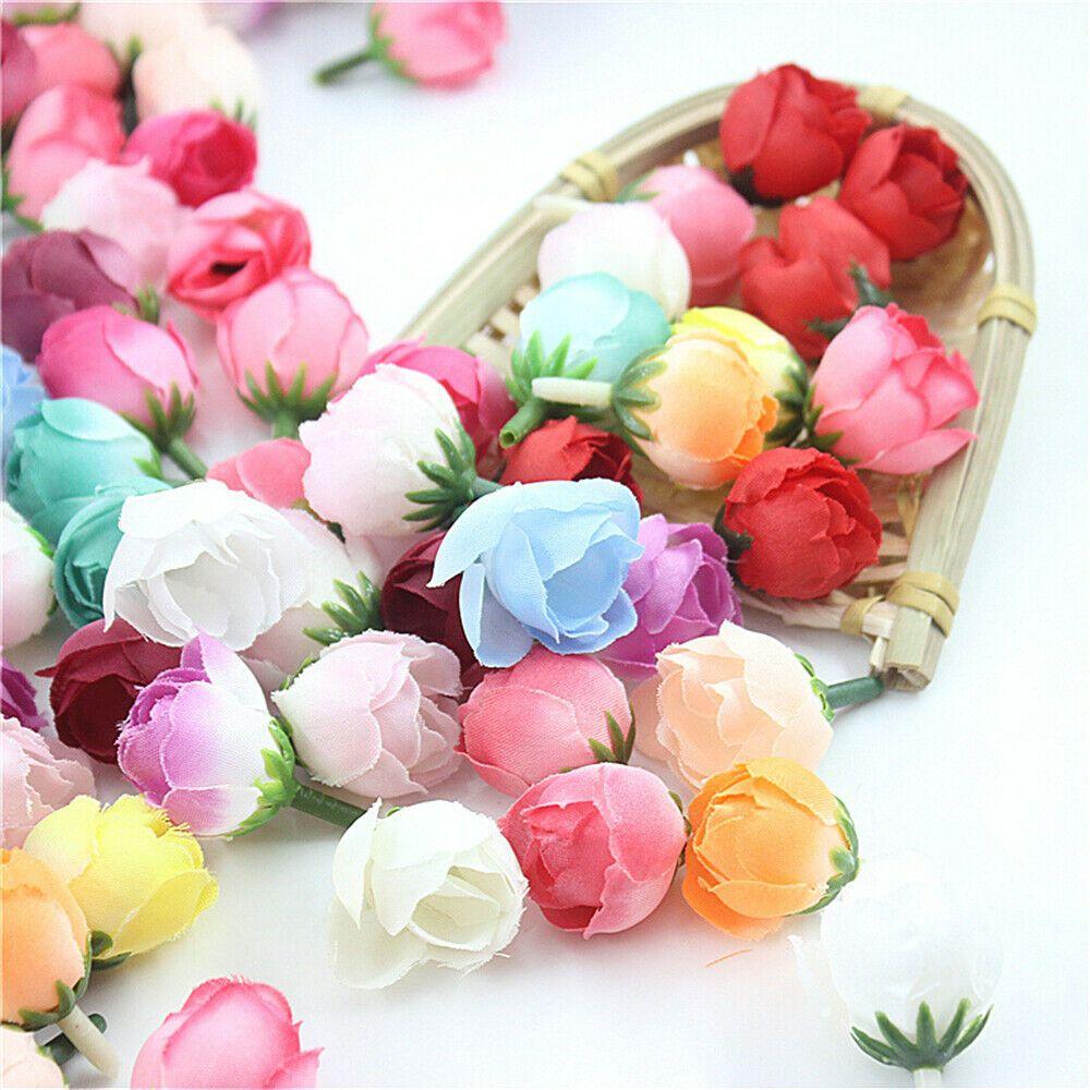 20Pcs Mini Artificial Fake Rose Silk Flower Head Wedding Party Home Garden Decor