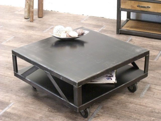 Table basse m tal 80x80x37 table basse 2 pinterest - Table basse bois metal industriel ...