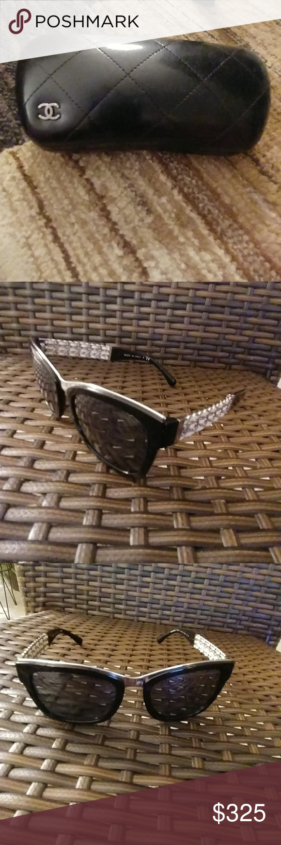 f78f6a9816c0 Chanel 5362Q Black with Silver Detail Sunglasses Chanel Women s Square  Framed Mirrored Sunglasses. Like New