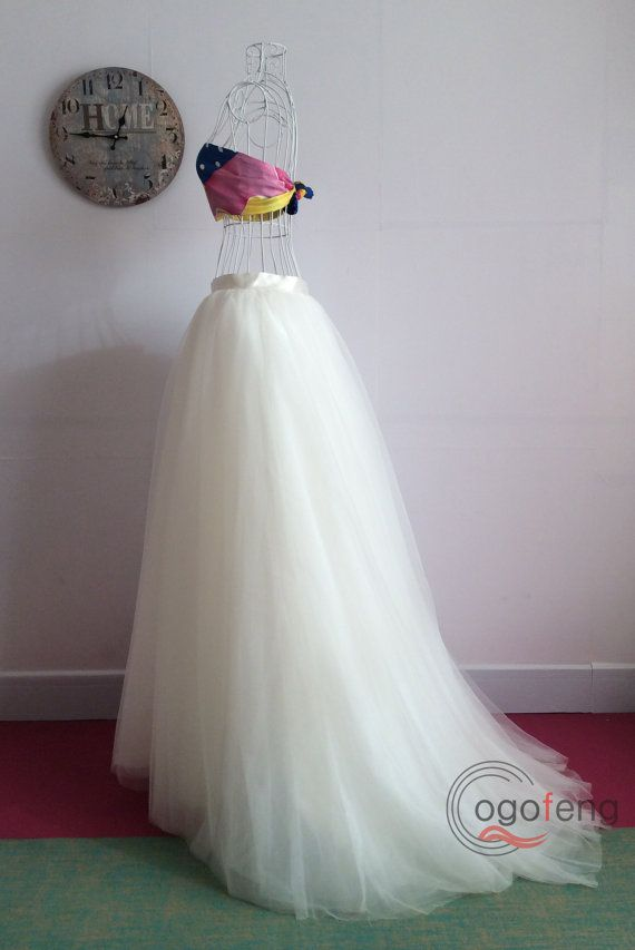 On sale ivory tutu short train tulle skirts wedding party for How to make a long tulle skirt for wedding dress