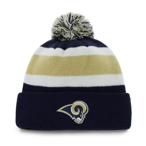 new product f105d 935d4 Los Angeles Rams Beanie  47 Brand Breakaway Knit Hat. The hat features a  striped knit pattern with a large three-color pom pom up top.
