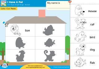 i have a pet color cut paste worksheet from super simple learning prek kindergarten. Black Bedroom Furniture Sets. Home Design Ideas