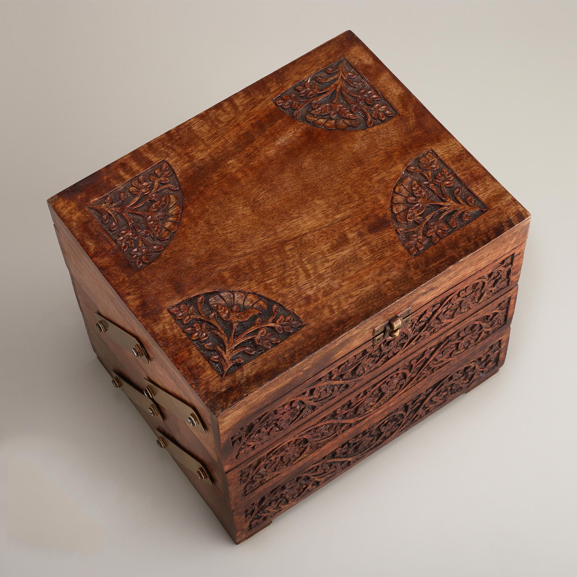 World Market Jewelry Box Impressive Carved Wood Tiered Jewelry Box  World Market  Fashion And Style Decorating Inspiration