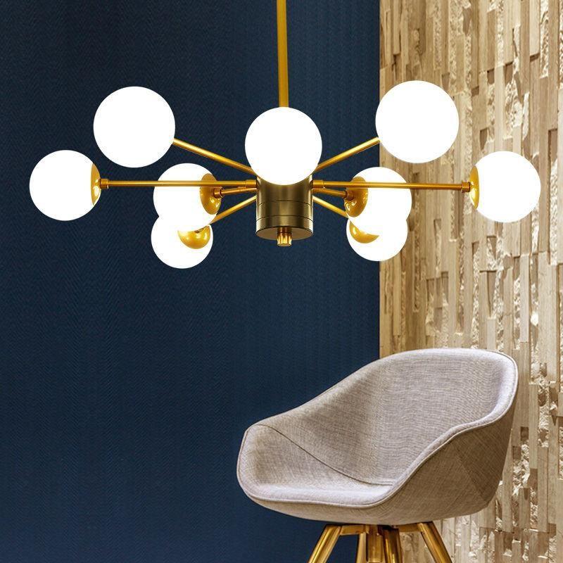 Simple Modern Brass Black Multi Globe Chandelier