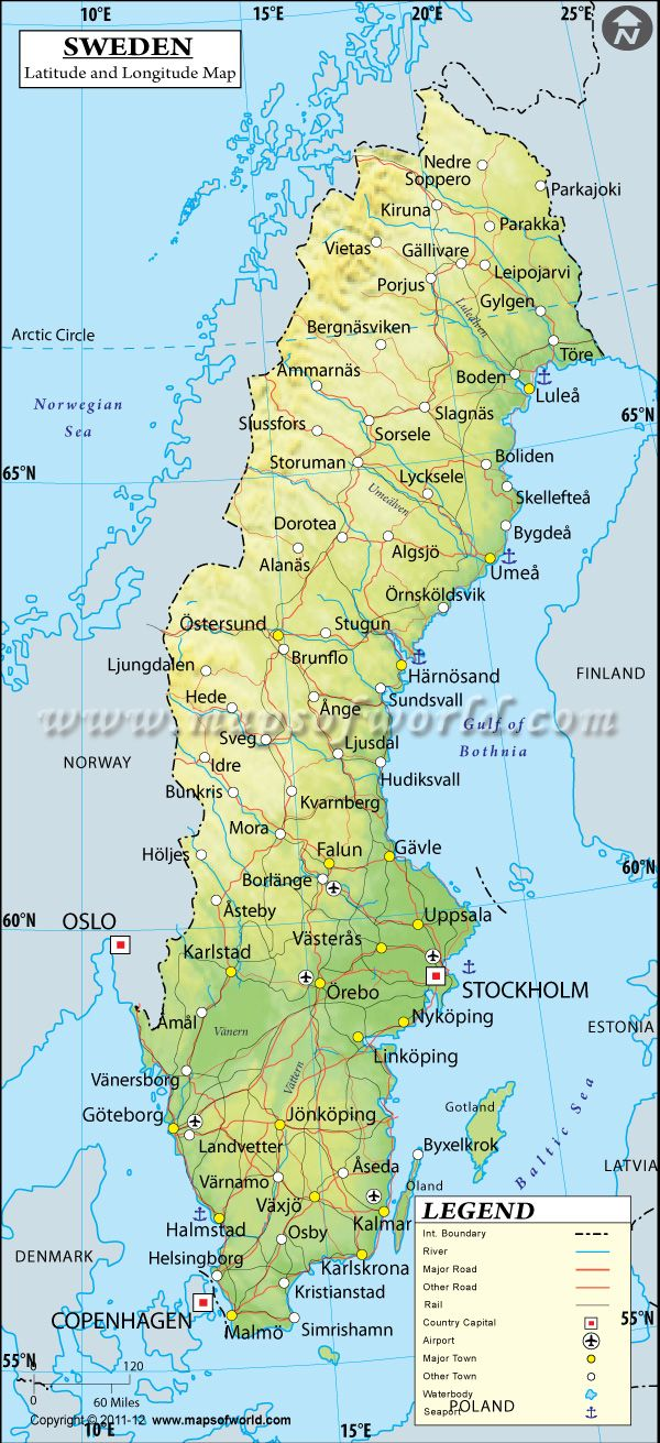 Sweden Latitude And Longitude Map Maps And Pinterest City - Sweden map airports