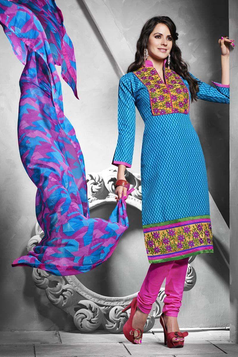 Blue Cotton Churidar Suit | wardrobe | Pinterest | Churidar suits ...