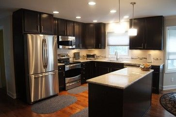 Dark Chocolate Cabinets With Stainless Steel Appliances Kitchen Design Small Kitchen Design Kitchen Remodel Small