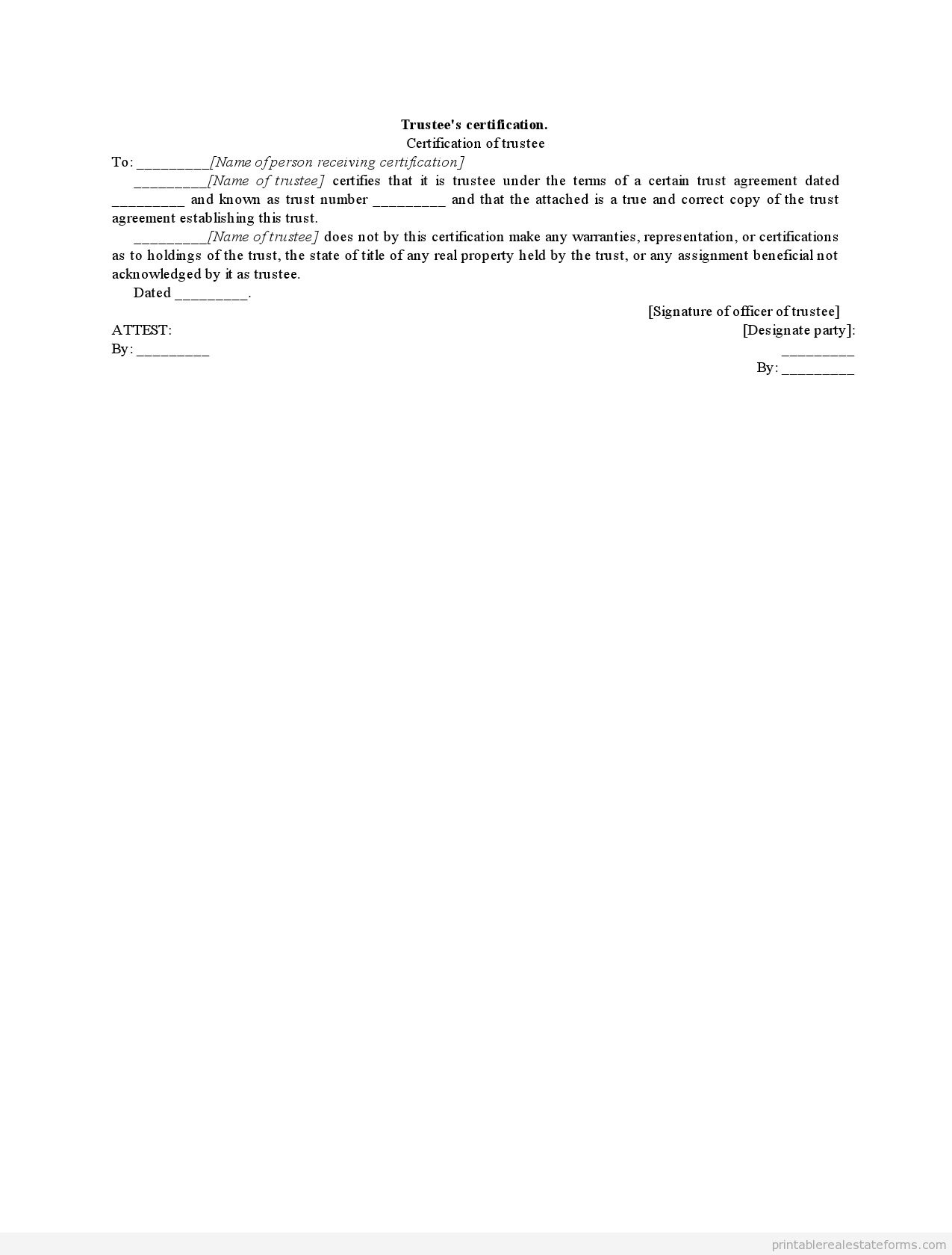 Sample Printable Trustees Certification Form  Sample Real Estate
