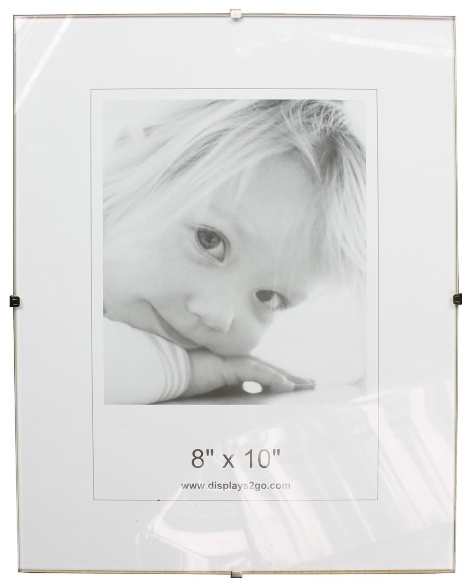 8 X 10 Frameless Picture Frame For Wall With Side Clips Clear