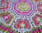 Butterflies Crochet Blanket...Granny Squares Baby Afghan...Colorful Newborn Blanket...