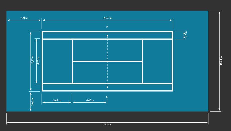 Tennis court 920 525 sports pinterest for Sport court dimensions