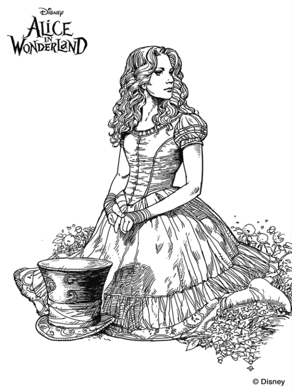 Coloring page Alice in Wonderland (Tim Burton) alice on Kids-n-Fun ...