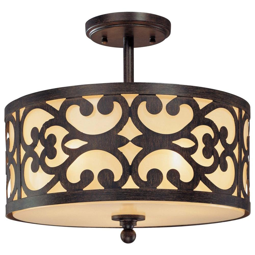 Minka Lavery Nanti 3-Light Iron Oxide Semi-Flush Mount Light