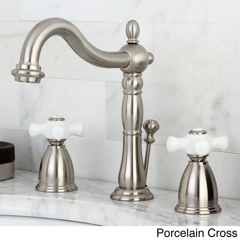 Kingston Brass Vintage Satin Nickel Widespread Bathroom Faucet ...