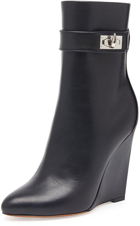 Boots compensées en cuir Noir xNRnkujjnH